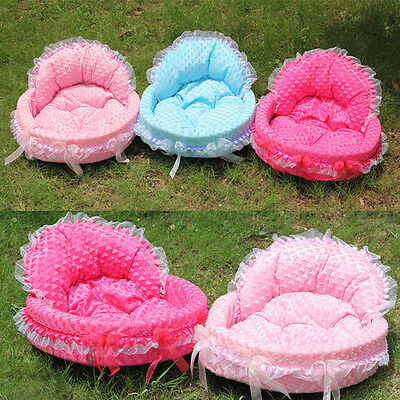 Lace Warm Pet Dog/Cat/Puppy/Kitten/Rabbit Bed Basket Cushion Comfy Fleece Lining
