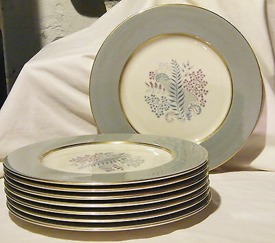 "1950's Set of 8 CASTLETON China ""FERNMERE"" Dinner Plates Gold/Gray/Blue/Purple"