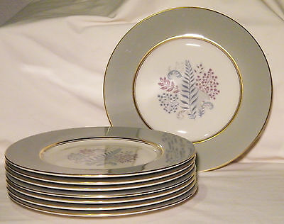 Vtg 50's 8 CASTLETON China FERNMERE Salad/Dessert Plates Gold/Gray/Blue/Purple