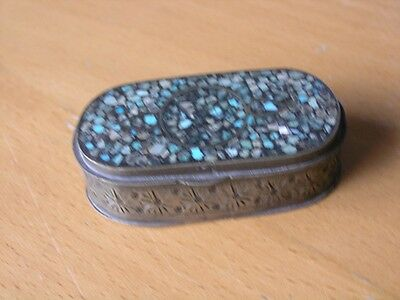 Gorgeous Delicate Antique Vintage Oval Indian Pill Trinket Box Inlay turquoise