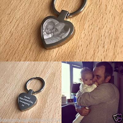 S.Steel Personalised  PHOTO ENGRAVED Heart Keyring Keychain - Mother's Day Gift
