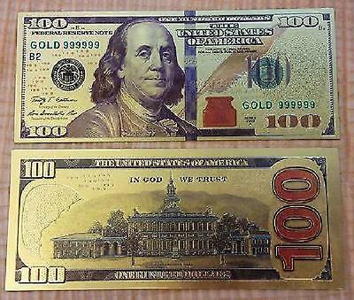 """""""New Style"""" 999 24k Gold Leaf  $100 One Hundred Dollar Bill Banknote + Sleeve"""