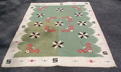 "Antique Green Mexican Serape Saltillo Texcoco Vallero Stars Blanket Rug 55""x84"""