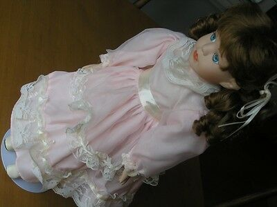 Gorgeous World Bazaars Bisque / Porcelain Doll 19 inches Pink Dress