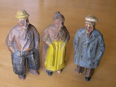 Group 3 Vintage German Style Syroco Wood ? Compo Hand painted Figurines Elders