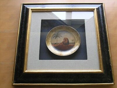 Vintage Decorative Shadow Box African Lion On Porcelain Plate Palm Trees Super