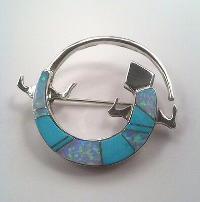 Navajo Sterling Silver Turquoise And Lab Opal Gecko Brooch