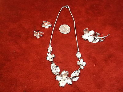 "Stunning Older Vtg Full Sterling Silver Necklace, Brooch & Earrings Set ""h.s.b."""