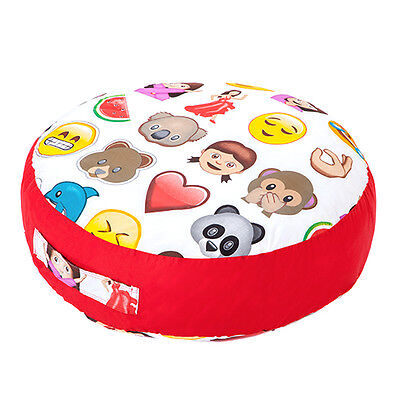 Emoji Emoticons Print Childrens Large Floor Cushion Soft Filled Play Seat Pillow