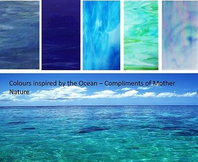 Stained Glass Sheets 100x200x3mm - x 5 Sheets  Ocean Blues