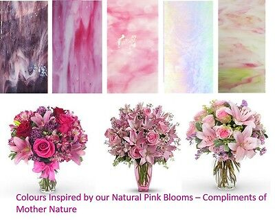 Stained Glass Sheets 100x200x3mm - x 5 Sheets  Blooming Pinks