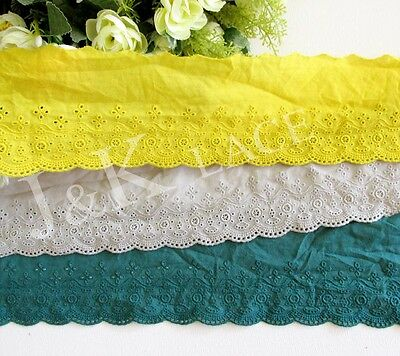 9 cm width Light Grey/ Mustard/ Dark Green Cotton Embroidery Lace Trim