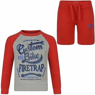 Boys Girls Firetrap Print Top or Shorts Kids Jumper Bottoms Outfit Set 2-13 Y