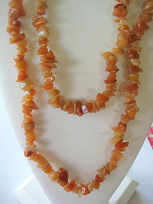 ESTATE RUSSIAN NATURAL STONE LIGHT BROWN AGATE CARNELIAN NECKLACE 1990s