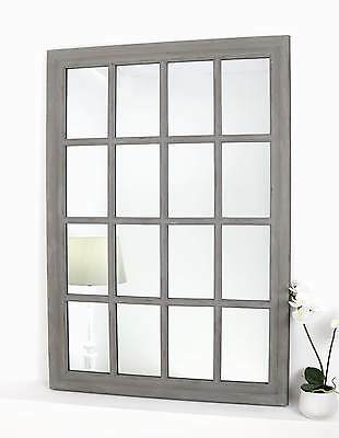 "Provence Grey Shabby Chic Rectangle Window Wall Mirror 34"" x 24"" Large"
