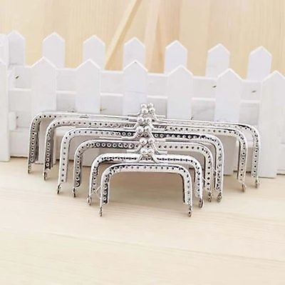 Silver Metal purse clasp bags frame Rectangle sewing holes 6.5 8 10.5 12 15 18cm