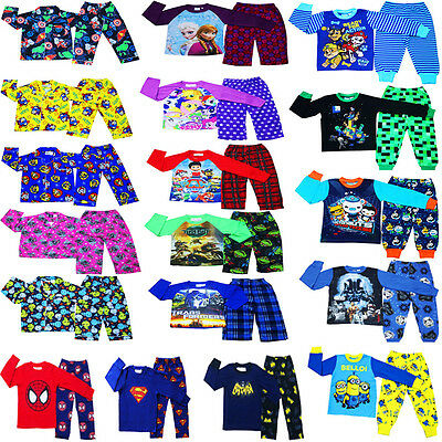 New Size 1~12 Kids Pyjamas Winter Pj Pjs Boys Girls Sleepwear Shirt