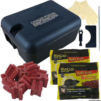 Complete Rat Killer Box - Grain & Block Rodent Poison Killer Kit - Ready To Bait