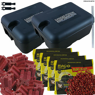 Pro 2 x Rodent Stations + 4 x 100g Rat Poison Sachets + 15 x 20g Bait Blocks Kit