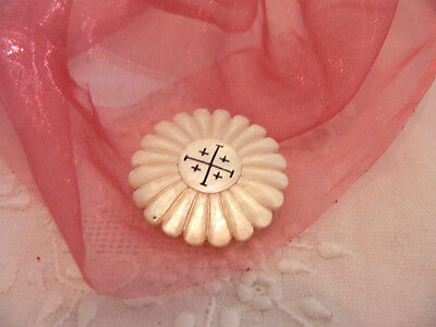 Vintage Antique Old Mother Of Pearl Shell Carved Jerusalem Cross Brooch Pin
