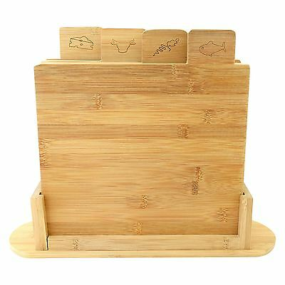 7pcs Bamboo Chopping Cutting Slicing Board Set with stand Symbol Coded