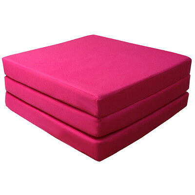 Pink 100% Cotton Fold Out Z Bed Cube Sleepover Guest Mattress Futon Chairbed