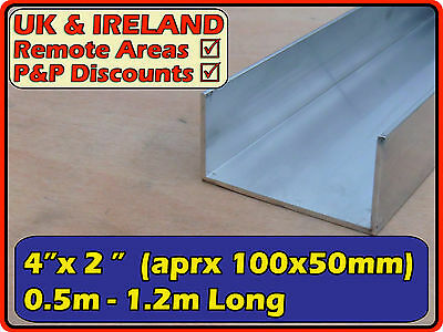 "Aluminium Channel (C U section ramp) | 4x2"" (>100mm 50mm 100x50) 3mm"