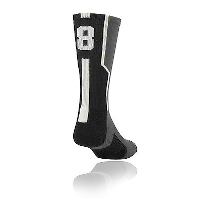 TCK® Player ID Elite Jersey Number Black Crew Single Sock - BUY 2 - NEW