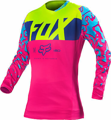 Fox Racing Womens Pink/Blue/Yellow 180 Dirt Bike Jersey MX ATV 2016