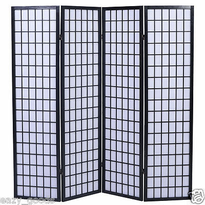 Tokyo Japanese Handmade Room Divider / Privacy Screen - Black 4/6 Panels