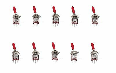 10 ON/ON SPDT SubMiniature Toggle Switch Mini with Red handle
