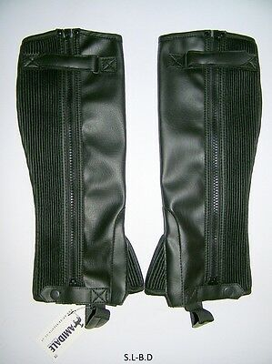 Half Chaps Horse Riding Equestrian Black Synthetiic Leather Amidale Bnwt