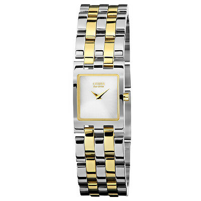 New Citizen Eco Drive Women's Jolie Series Square Two Tone Watch Ex1304-51A