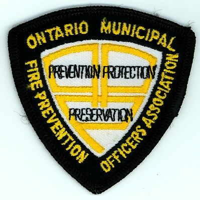 Vintage Ontario Municipal Fire Prevention Officers Association Patch ON Canada