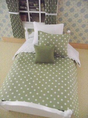 Miniature Doll House 4Pce Sage Green Single Bedding Set For 12Th Scale Bed New