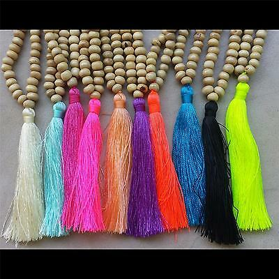 10 x natural  wooden mala style tassel necklace