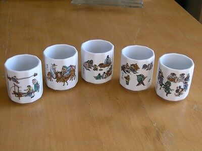"Group of 5 Ten Sided Porcelain Sake Cups Different Occupational Scenes 2"" tall"