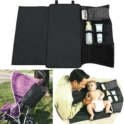 Portable Folded Diaper Pad Bag Baby Changing Mat Washable Pouch Travel Compact