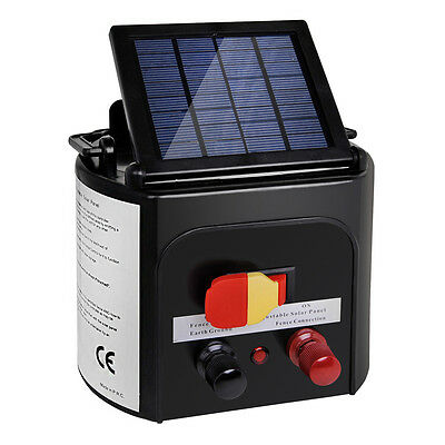 5km Solar Power Charger Electric Fence Energiser W/ Over Charge Protection