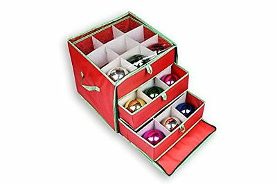 NEW Christmas Ornament Storage Box with Drawers for 27 Large Ornaments