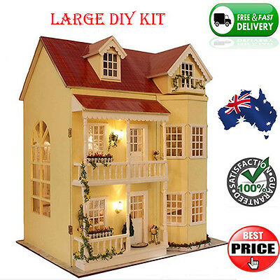 Large Wooden DIY Dollhouse Miniature Kit w/ LED Lights Furniture & Accessories
