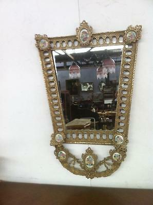 Antique French Rococo Ornate Carved Gilt Brass Mirror With Porcelain Medallions