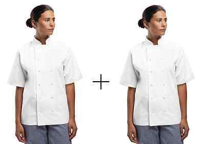 2 x Chef Jacket Lightweight White Short Sleeve Press Stud Buttons XS - XXL - NEW