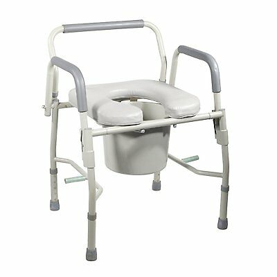 Steel Drop Arm Bedside Commode W/ Padded Seat & Arms 11125PSKD-1 - Drive Medical