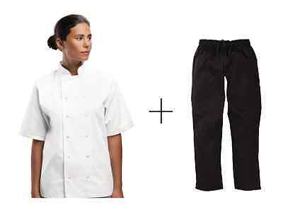 Chef Jacket Lightweight White Short Sleeve + DNC Black Elastic Drawstring Pants