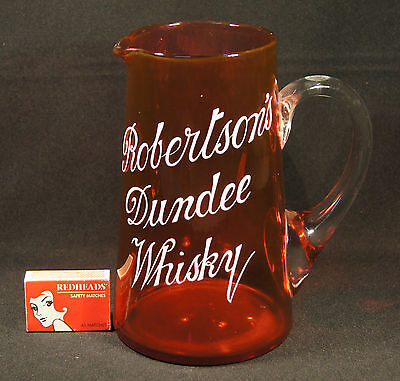 C.1900 Ruby Glass Advertising Enamelled Robertson's Dundee Whisky Water Jug.