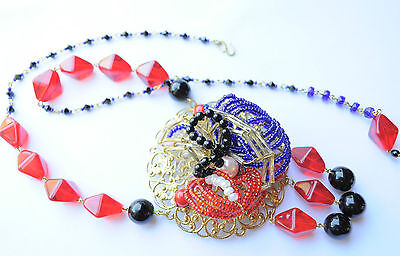Vintage Raw Brass Set Necklace Czech Red Glass Miriam Haskell inspired Handmade