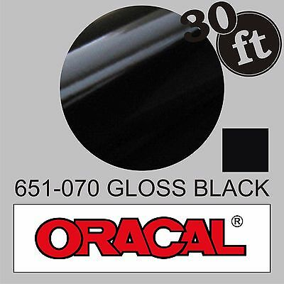 12 in x 30 ft Black Oracal 651-070 Gloss Adhesive Vinyl