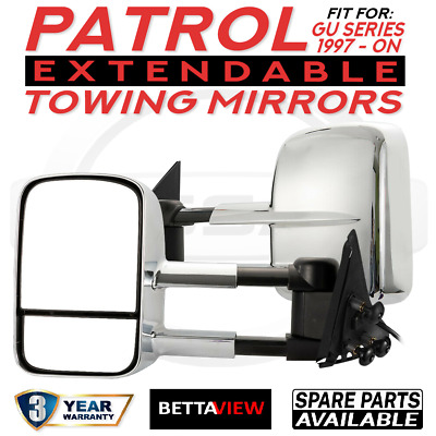 BettaView ® Caravan Towing Side Mirrors Foldable Extendable Nissan Patrol CHROME
