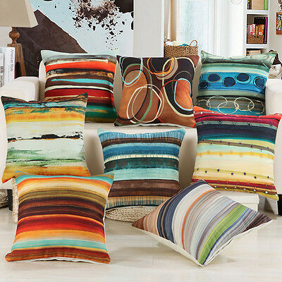 18'' Watercolour Abstract Throw Linen Pillow Case Home Sofa Decor Cushion Cover